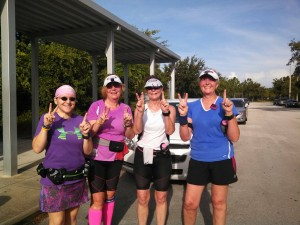 Four runners holding up 3 fingers equals 12!  That's the idea anyway.