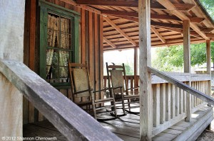 Porch of one of the historic homes at Fort Christmas