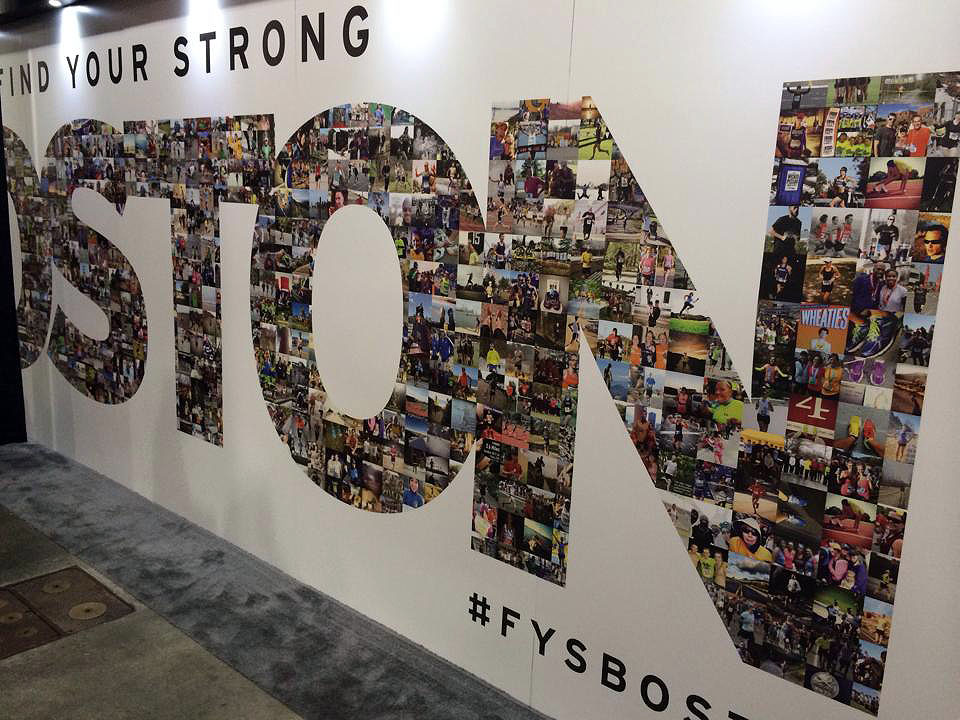 This was at the Boston Marathon expo, and a pic of me and some running friends is in it! Love.