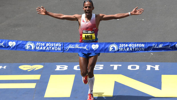 Meb wins Boston! (photo copyright CBS News)
