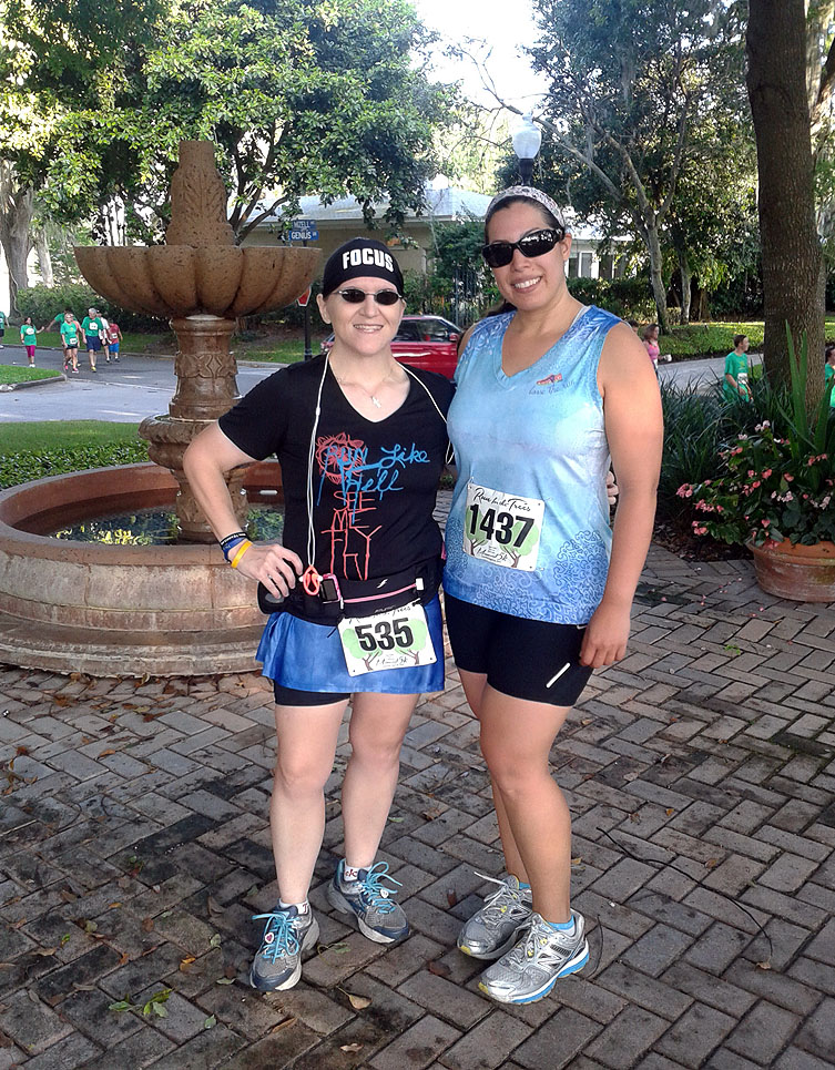 With my friend Liz after the race.