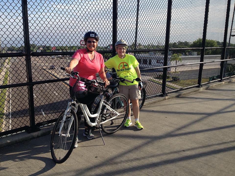 With my biking friend and fellow tri training buddy, Terrie on one of our rides.