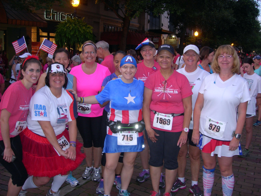 At the 2013 Watermelon 5k on July 4th with some of my running group.