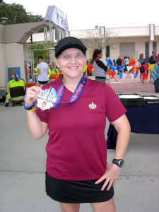 After finishing the marathon at Space Coast last year.