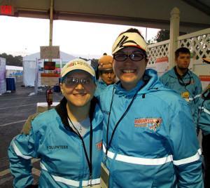 Volunteering at the WDW Marathon with Katie.