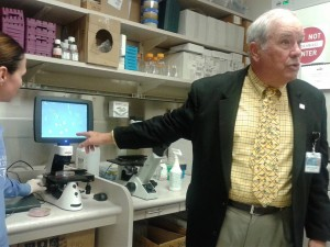 Tour of the research labs, showing us cancer cells.