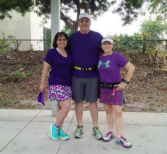Runners were encouraged to wear purple on their runs for Leah.