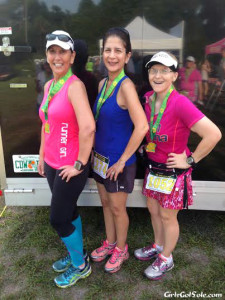 With two of the girls from my pace group after the race.