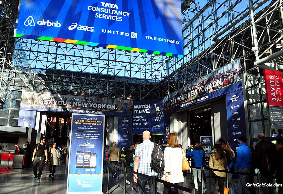 Entering the NYC Marathon expo.