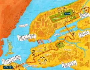 NYC Marathon course map.
