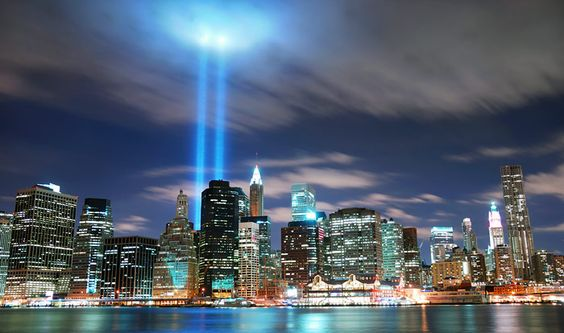 NYC World Trade Center lights tribute