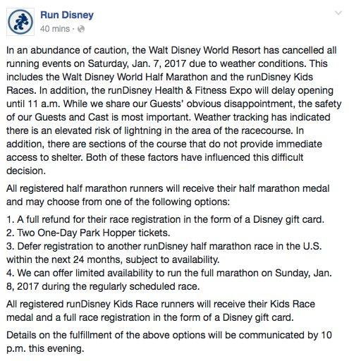 The Girl's Got Sole - runDisney tweet canceling race