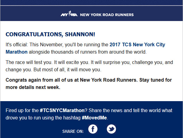 The Girl's Got Sole - 2017 NYC Marathon acceptance